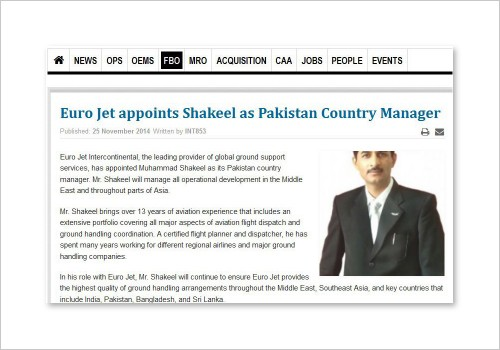 EURO JET APPOINTS SHAKEEL AS PAKISTAN COUNTRY MANAGER