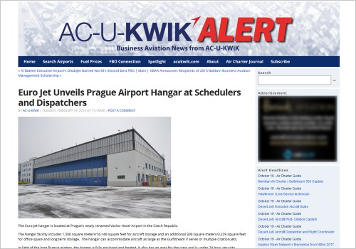 EURO JET UNVEILS PRAGUE AIRPORT HANGAR AT SCHEDULERS AND DISPATCHERS
