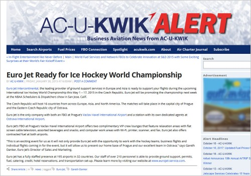 EURO JET READY FOR WORLD CHAMPIONSHIP IN ICE HOCKEY