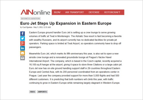 EURO JET STEPS UP EXPANSION IN EASTERN EUROPE