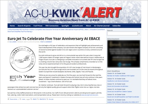EURO JET TO CELEBRATE FIVE YEAR ANNIVERSARY AT EBACE